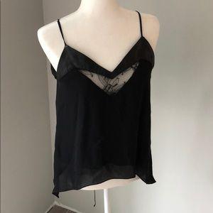 Michelle Mason black lace silk cami